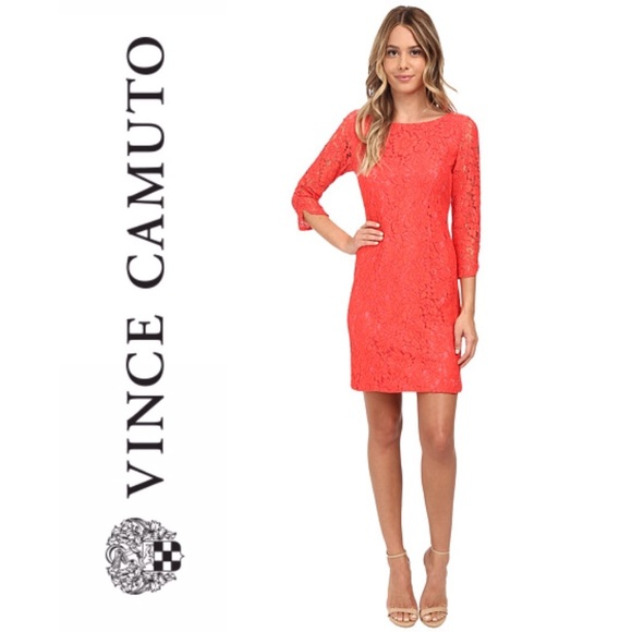 Vince Camuto Coral Lace Shift Dress Size 4